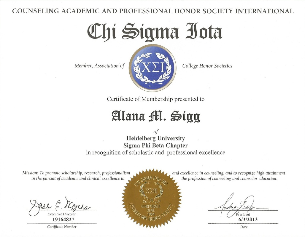Licenses Certifications Alana Sigg